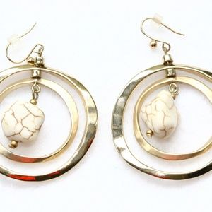 Double Gold Ring Earrings w Magnesite Bead Chico's